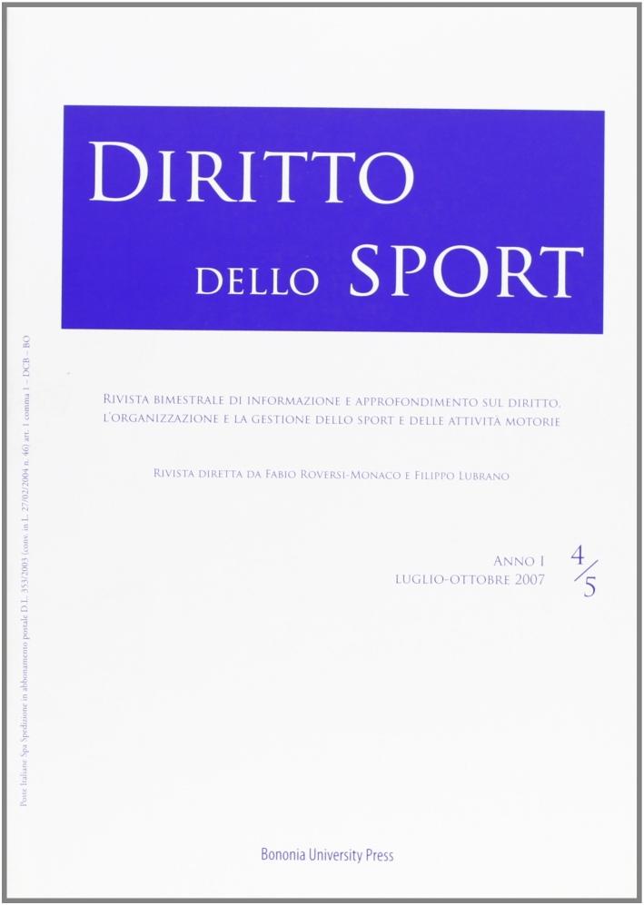Diritto dello sport (2007). Vol. 4-5.