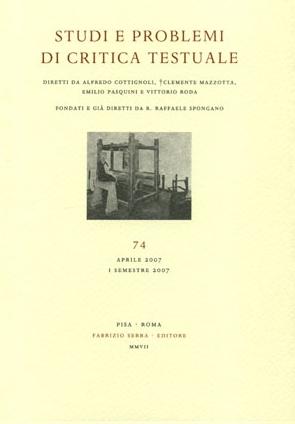 Studi e problemi di critica testuale. Vol. 76. 1. 2008