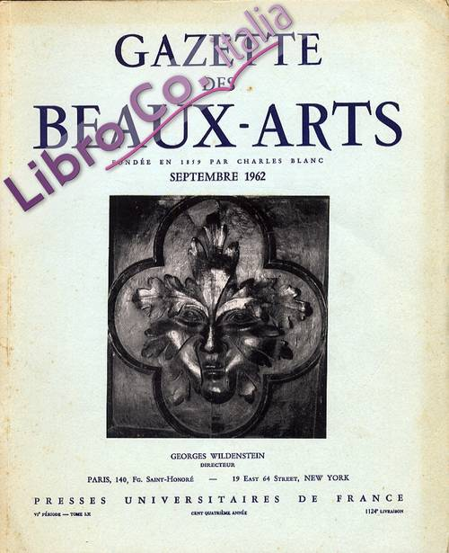 Gazette des Beaux-arts. Septembre 1962. [English and French Ed.]