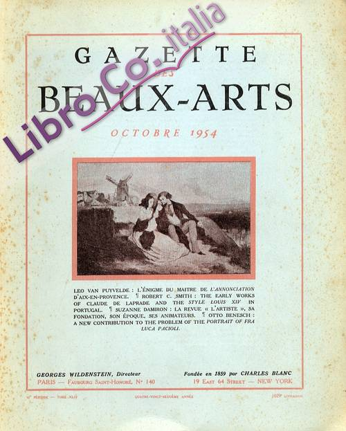 Gazette des Beaux-arts. Octobre 1954. [English and French Ed.].