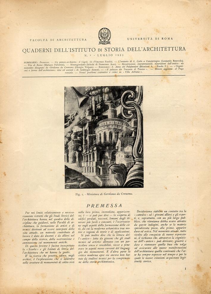 Quaderni dell'Istituto di Storia dell'Architettura. Fascicoli dal numero 1 (luglio 1953) al numero 21 (settembre 1957).