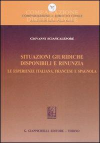 Situazioni giuridiche. Disponibili e rinunzia. Le esperienze italiana, francese e spagnola