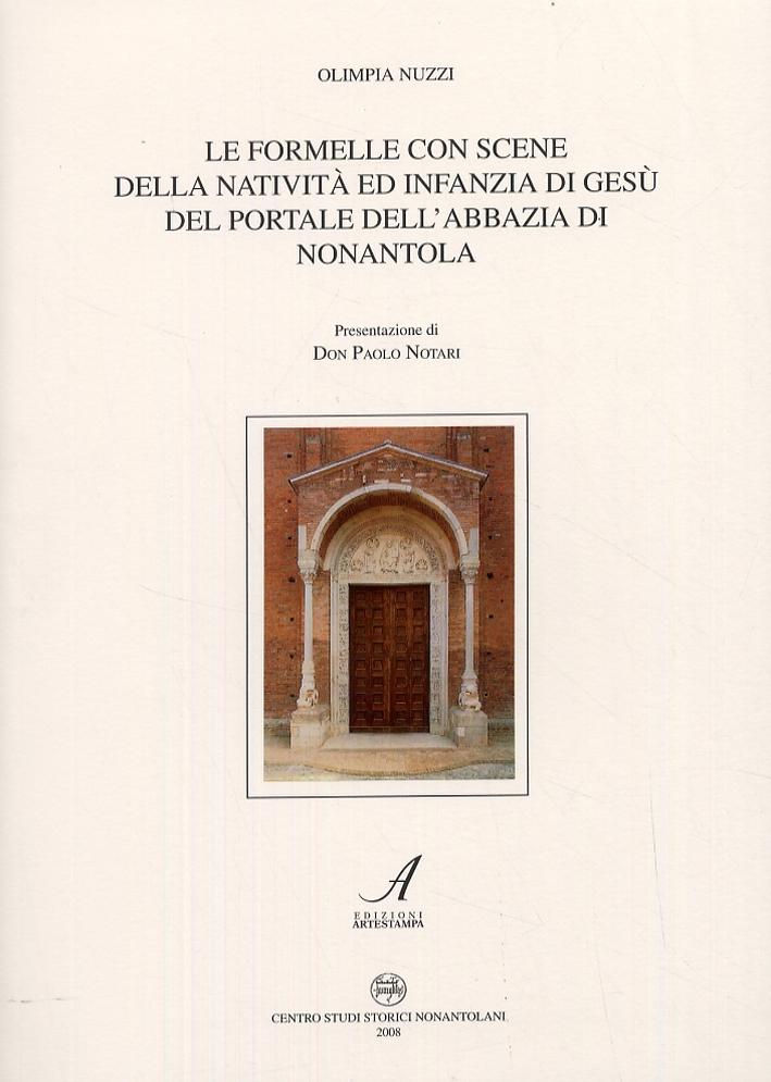 Le formelle con scene della natività ed infanzia di Gesù del portale dell'abbazia di Nonantola.
