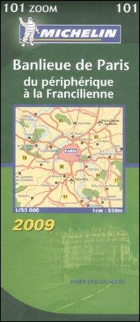 Banlieune de Paris. Du périphérique à la Francilienne. 1:53.000