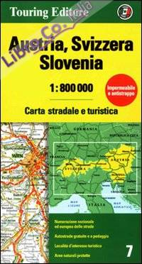 Austria, Svizzera, Slovenia 1:800.000. Carta stradale e turistica