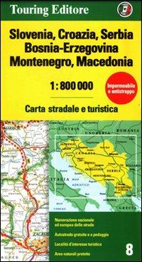 Slovenia, Croazia, Serbia, Bosnia Erzegovina, Montenegro, Macedonia 1:800.000. Carta stradale e turistica