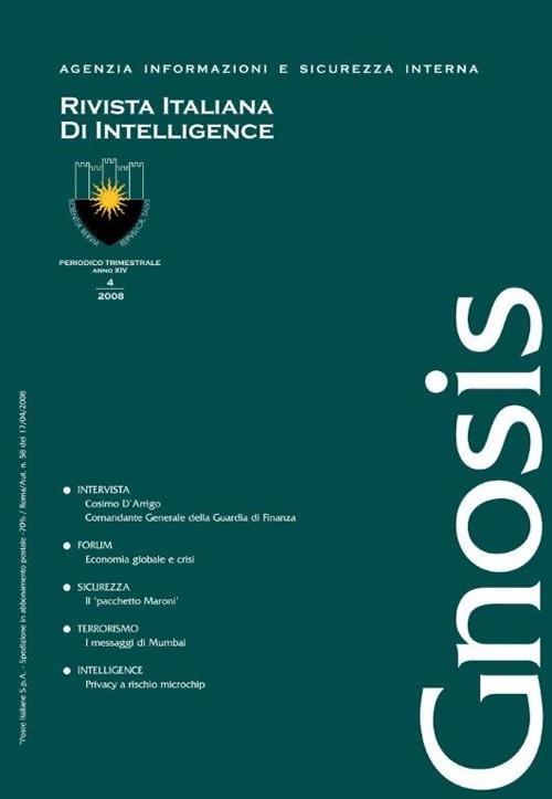 Gnosis. Rivista italiana di Intelligence (2008). Vol. 4.