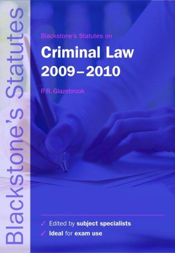 Blackstone's Statutes on Criminal Law.