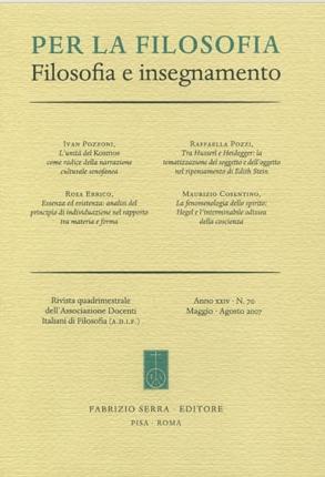 Per la filosofia. Filosofia e insegnamento. 75-76. 1-2. 2009.
