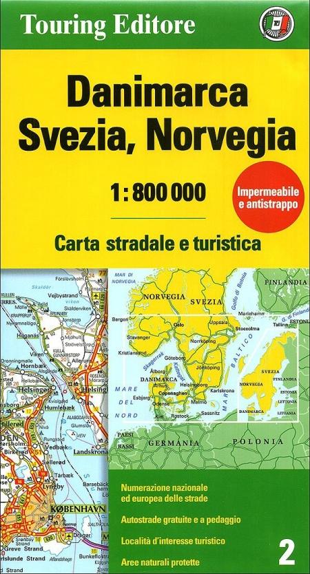 Danimarca, Svezia, Norvegia 1:800.000. Carta stradale e turistica