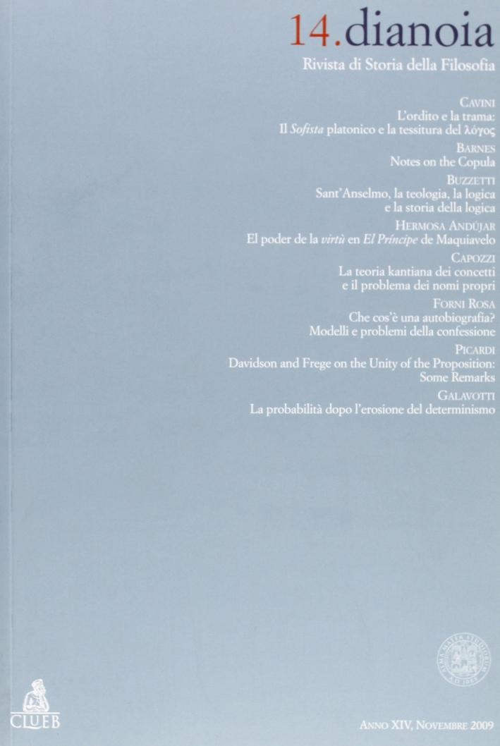 Dianoia. Annali di storia della filosofia. Vol. 14