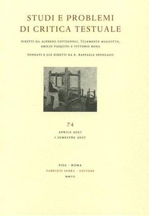 Studi e problemi di critica testuale. Vol. 79. 2. 2009