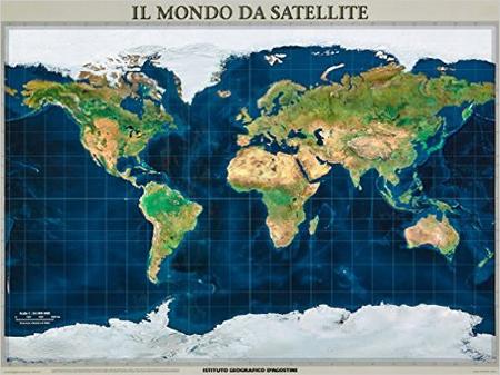 Cartina del mondo dal satellite. Cm 120x90. poster plastificato. [riferimento 21]