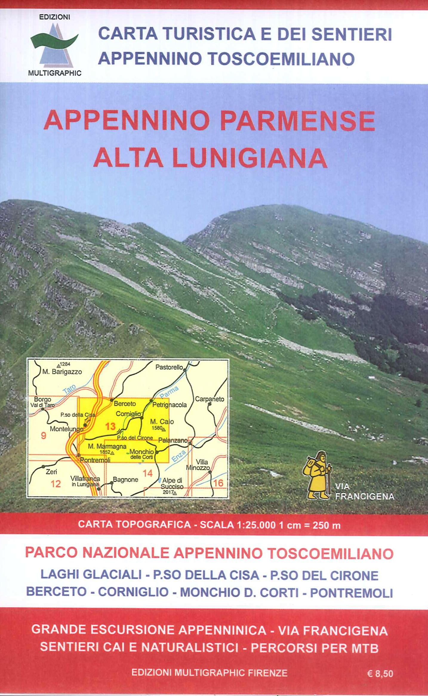 Appennino Parmense Alta Lunigiana. Carta dei Sentieri 1:25.000.