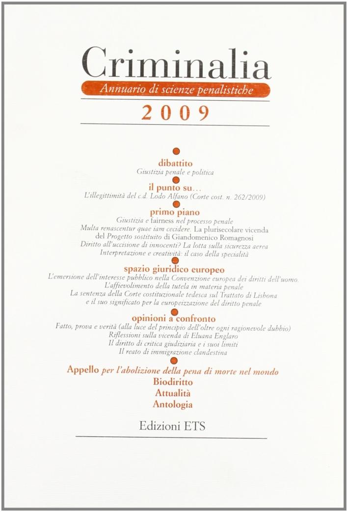 Criminalia. Annuario di scienze penalistiche (2009)
