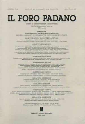 Il Foro Padano. Rivista di giurisprudenza e di dottrina. 66. 1. 2010