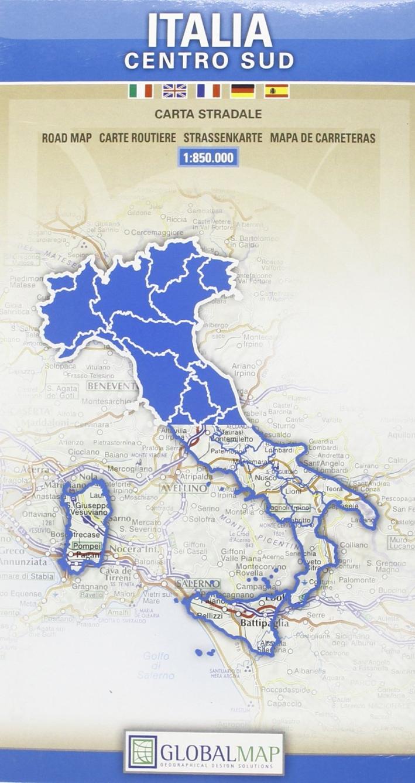 Italia centro sud 1:850.000. Carta Stradale. Map Road. Carte Routiere. Strassenkarte. Mapa De Carreteras