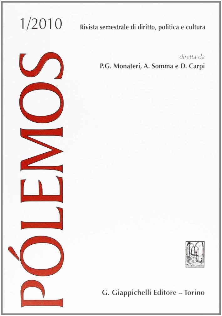 Pólemos. Rivista semestrale di diritto, politica e cultura (2010). Vol. 1