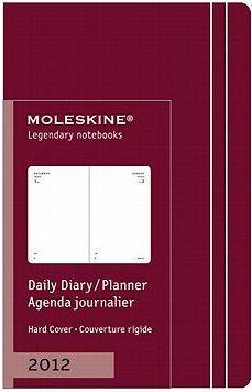 2012 Moleskine Extra Small Maroon Daily Diary 12 Month Hard