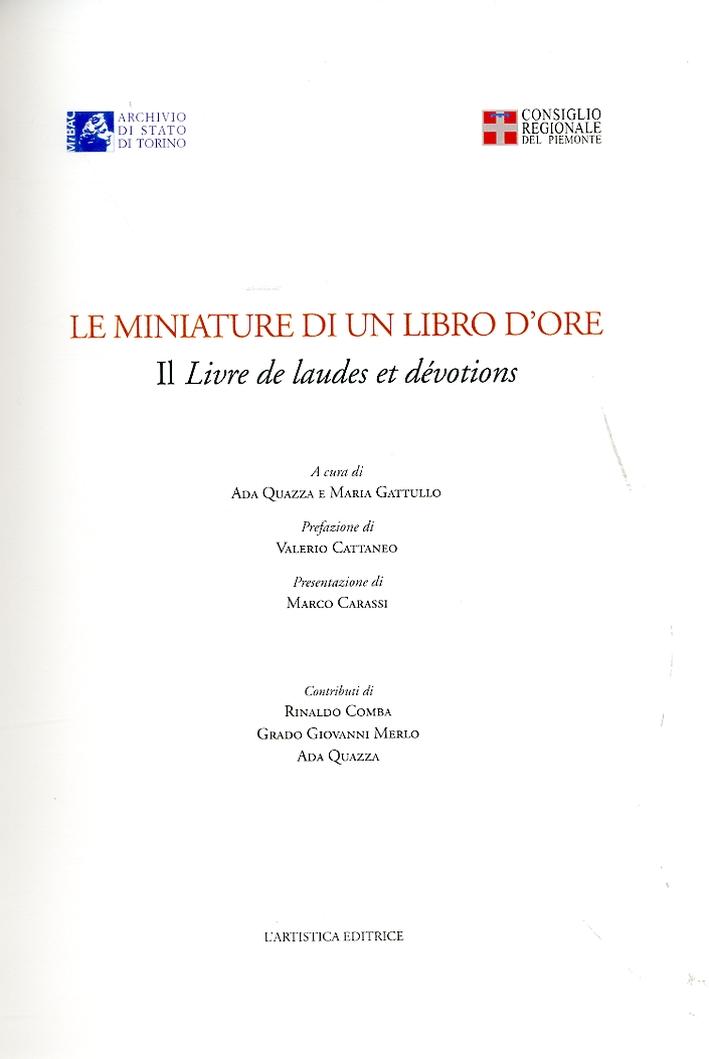 Le miniature di un libro d'ore. Il livre de laudes et dévotions