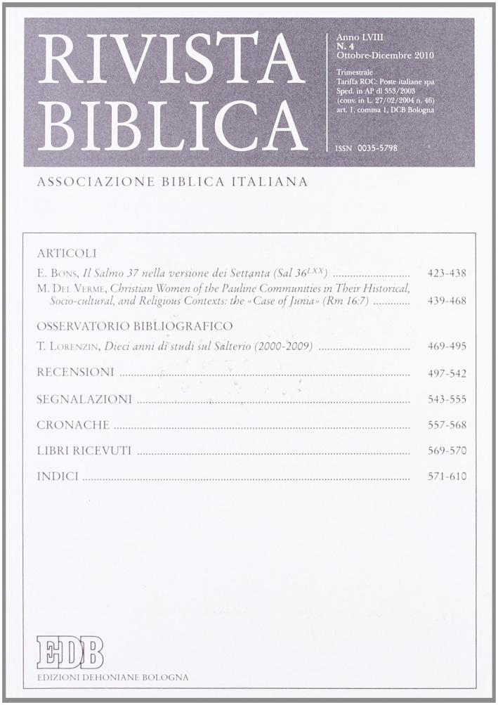 Rivista biblica (2010). Vol. 4