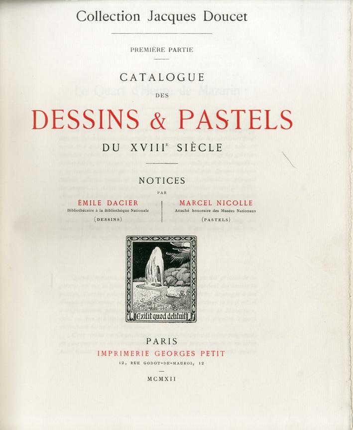 Catalogue des Dessins & Pastels du XVIII Siecle
