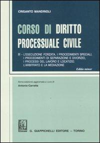 Corso di diritto processuale civile. Vol. 3: L'esecuzione forzata, i procedimenti speciali, i procedimenti di separazione e divorzio, i processi del lavoro e locatizio