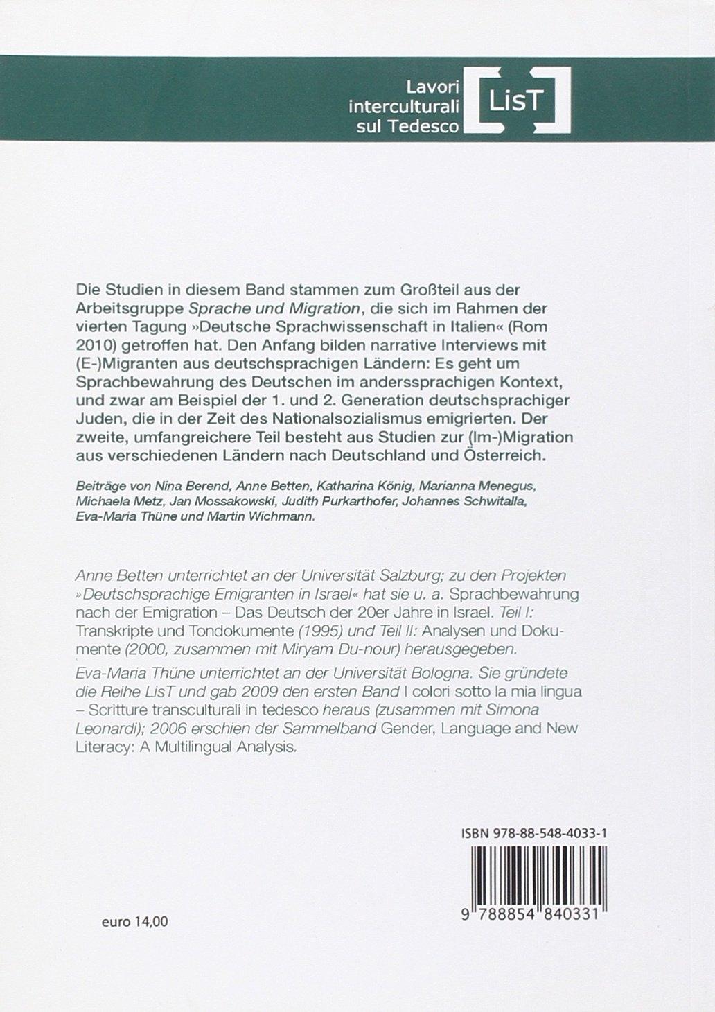 Sprache und migration linguistische falstudien. Ediz. italiana e tedesca
