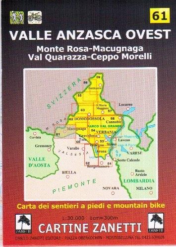 Valle Anzasca ovest. Monte Rosa, Macugnana, Val Quarazza, Ceppo Morelli 1:30.000