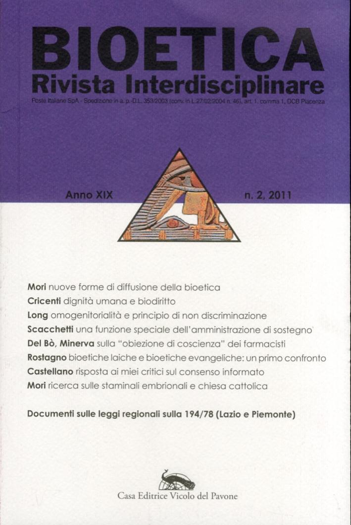 Bioetica. Rivista Interdisciplinare. Anno XIX. 2.