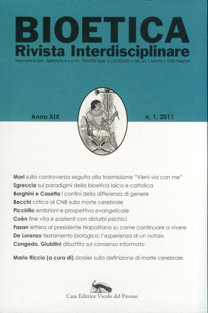 Bioetica. Rivista Interdisciplinare. Anno XIX. 1.