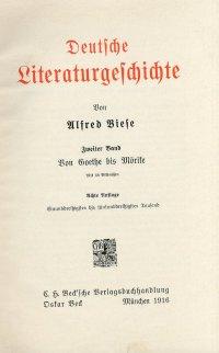 Deutfche Literaturgefchichte. Von Goethe bis Morite