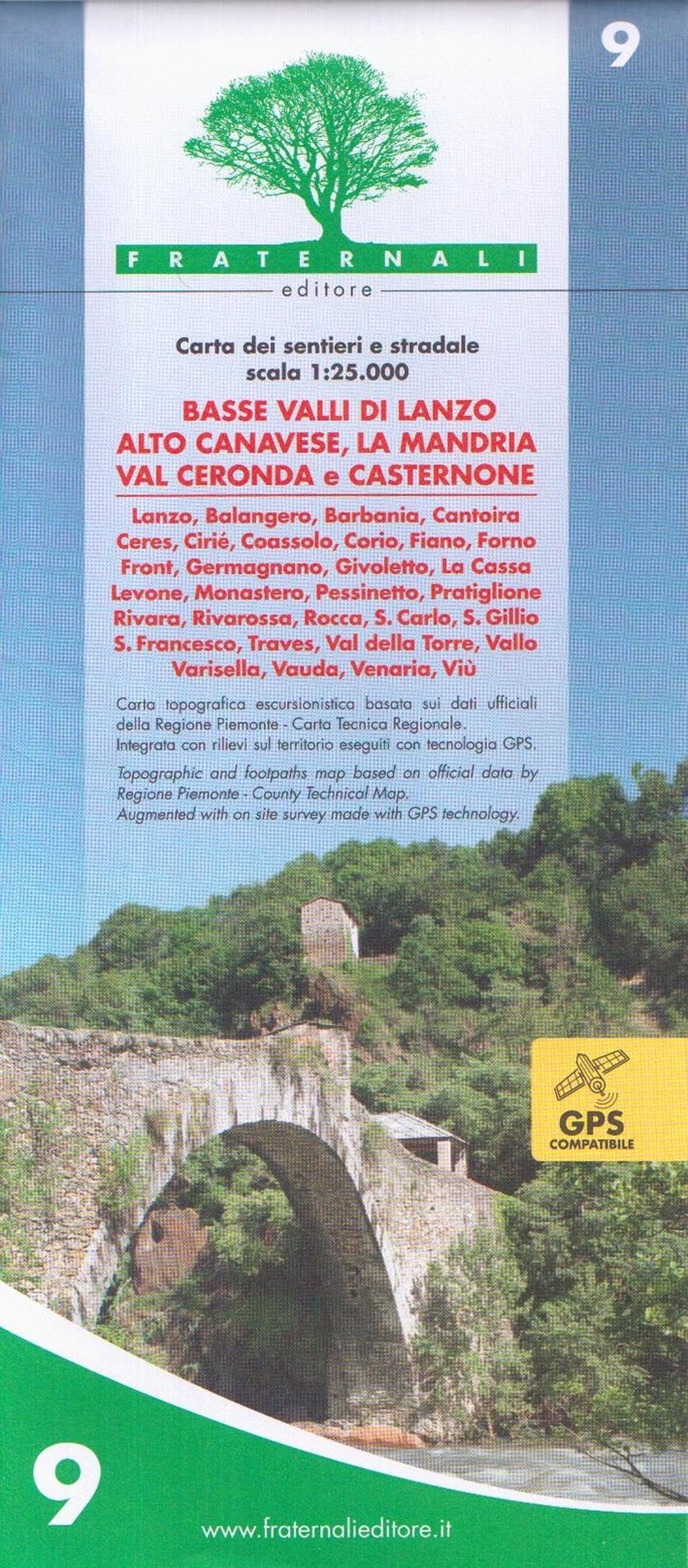 Carta N. 9. Basse Valli di Lanzo, Alto Canavese, la Mandria, Val Ceronda e Casternone