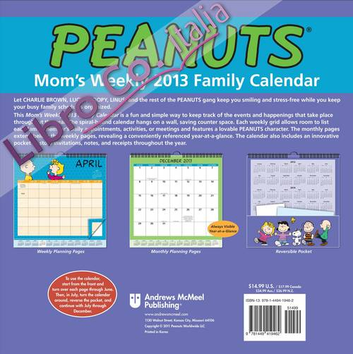 Peanuts Mom's Weekly 2013 Family Calendar