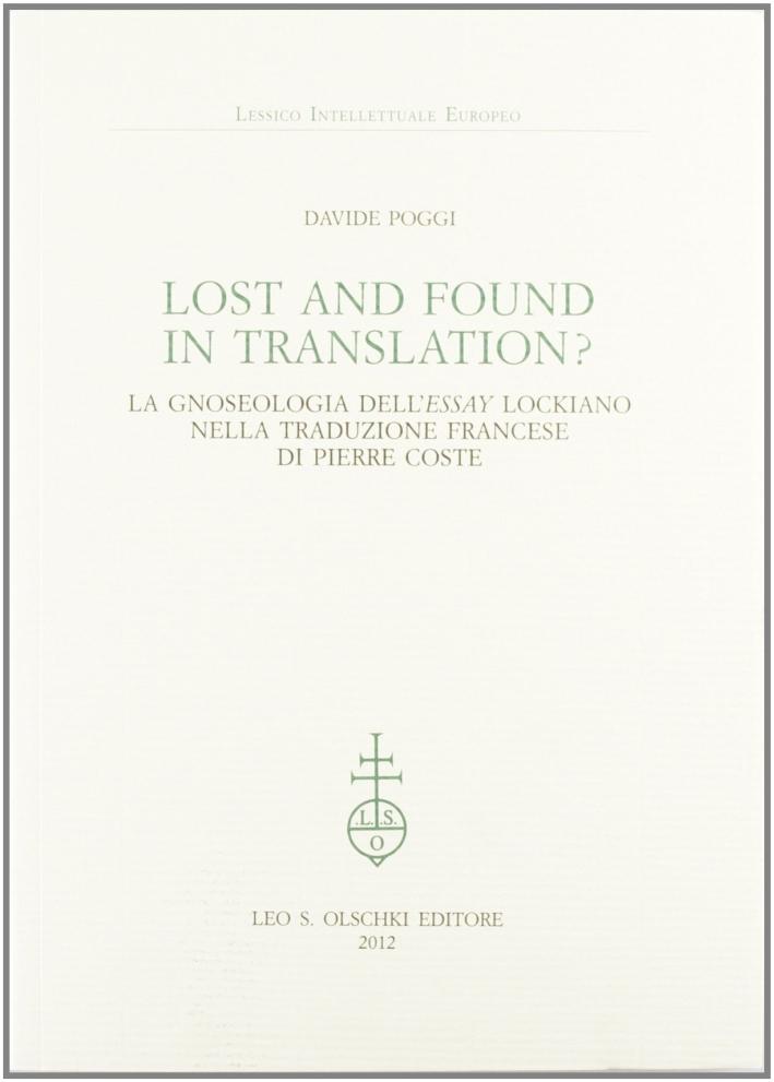 Lost and Found in Translation? la Gnoseologia dell'