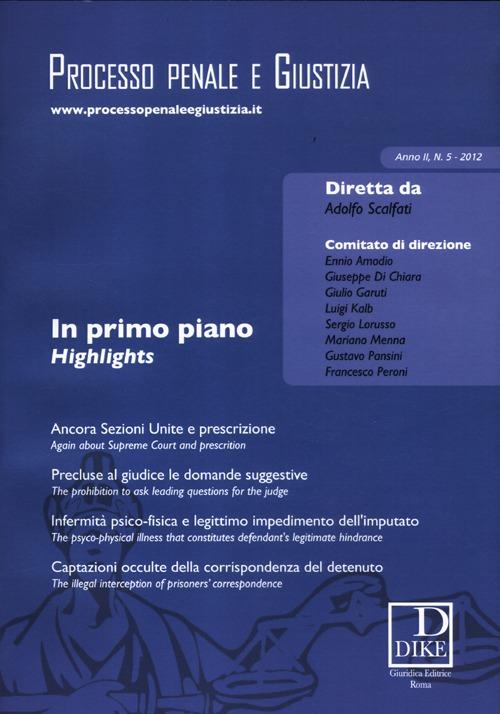 Processo penale e giustizia (2012). Vol. 5