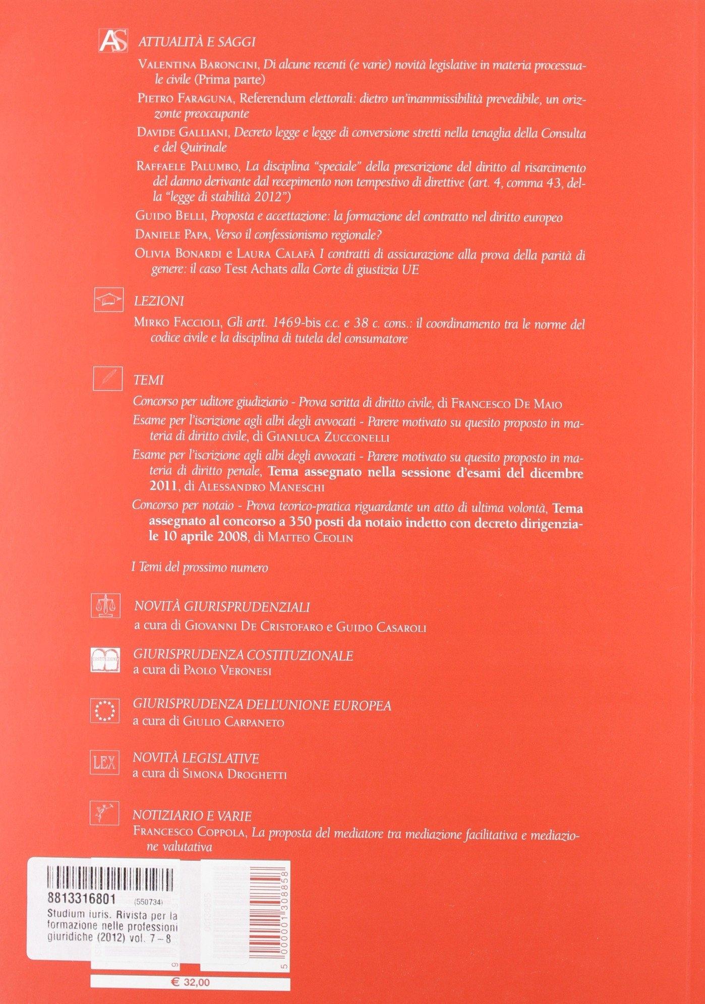 Studium iuris. Rivista per la formazione nelle professioni giuridiche (2012) vol. 7-8