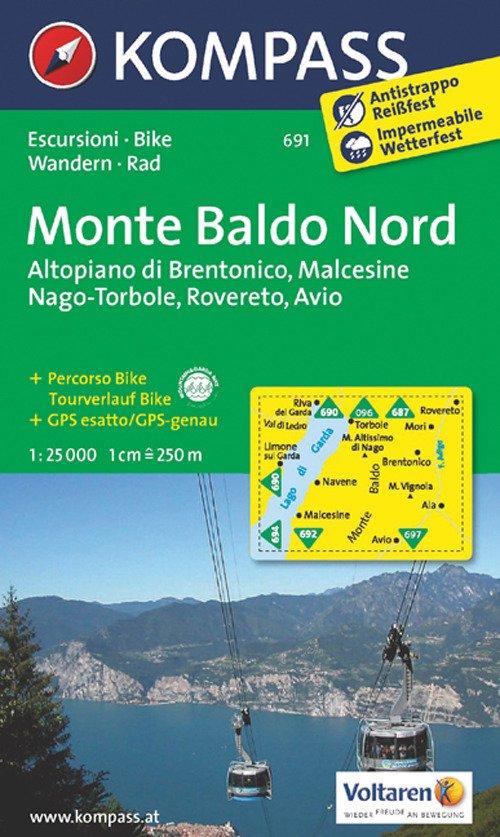 Carta escursionistica n. 691. Monte Baldo nord, Altopiano di Brentonico, Malcesine, Nago 1:25.000. Adatto a GPS. Digital map. DVD-ROM