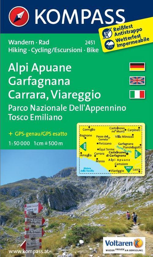 Carta escursionistica n. 2451. Alpi Apuane, Garfagnana, Carrara, Viareggio. Adatto a GPS. Digital map. DVD-ROM