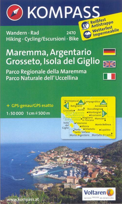 Carta escursionistica n. 2470. Maremma, Argentario, Grosseto, Isola del Giglio. Adatto a GPS. Digital map. DVD-ROM
