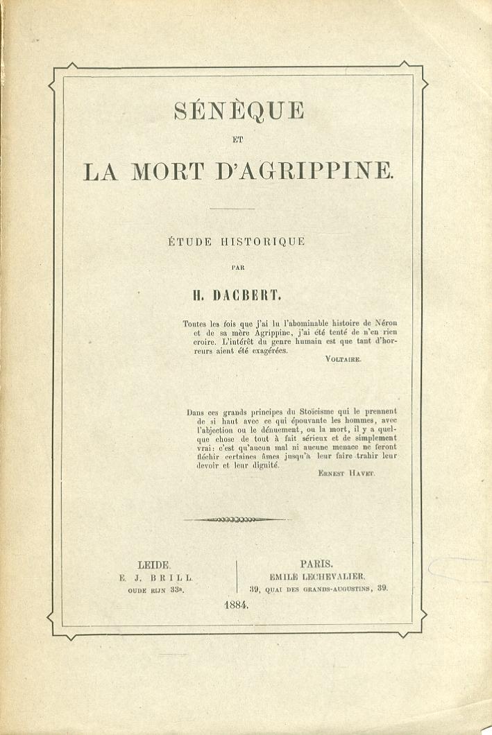 Seneque et la mort d'Agrippine. Etude historique.