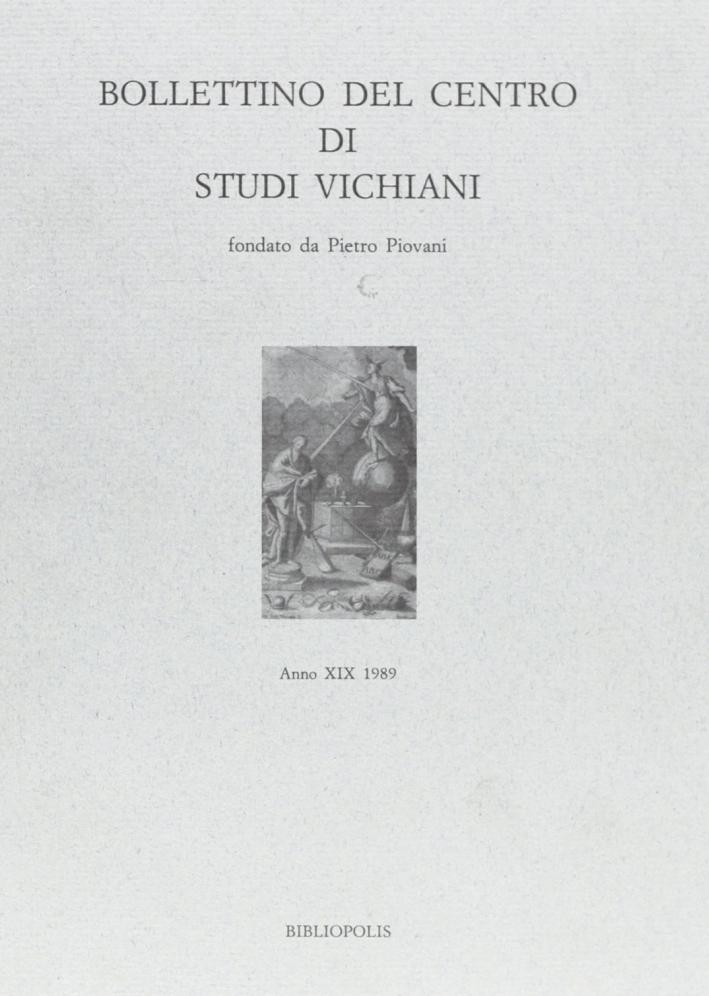 Bollettino del Centro di studi vichiani (1989). Vol. 19