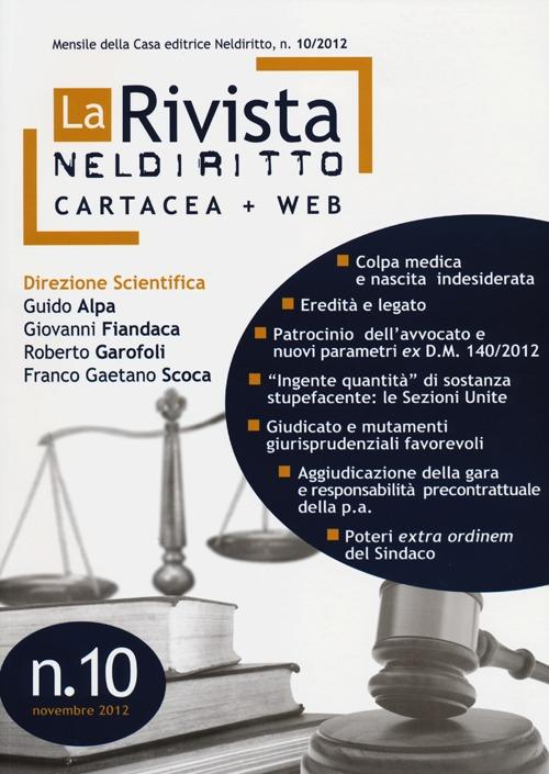 La rivista di Neldiritto (2012). Vol. 10