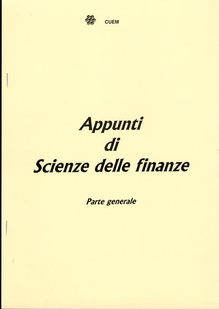 Appunti di scienze delle finanze. Parte generale. VA 033