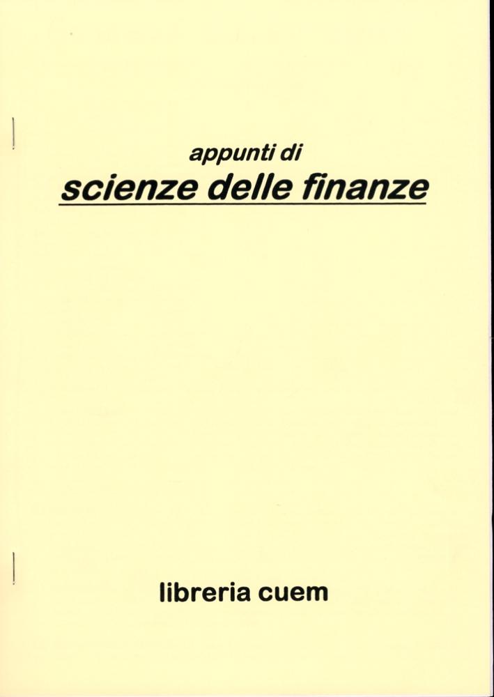 Appunti scienze delle finanze. VA 063