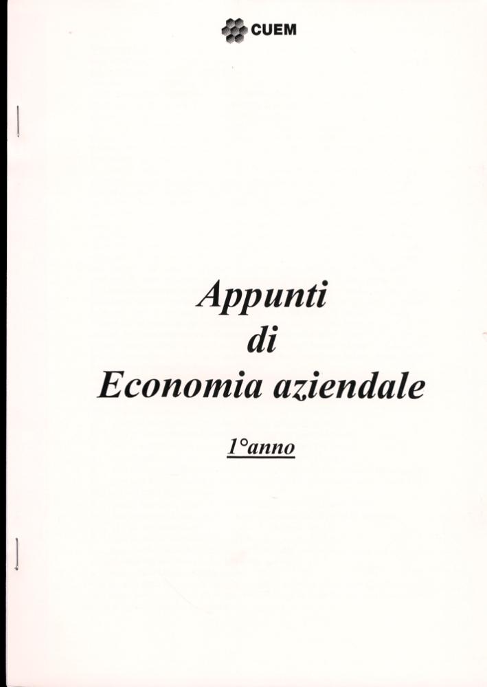 Appunti di economia aziendale primo anno. VA 032