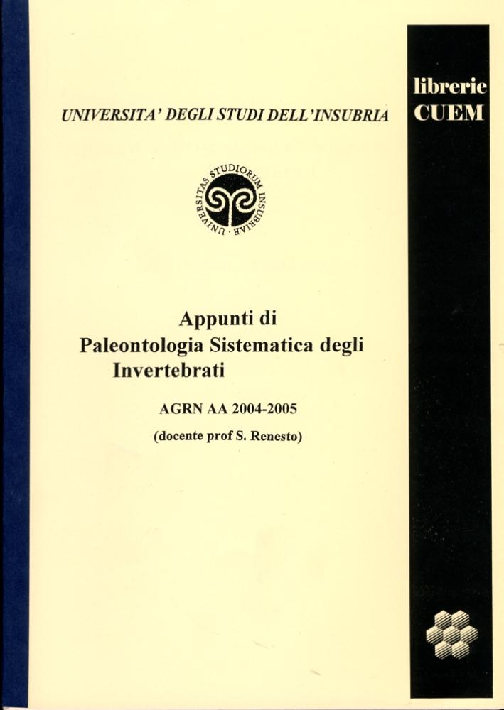 Appunti di paleontologia sistematica degli invertebrati. VA 002.