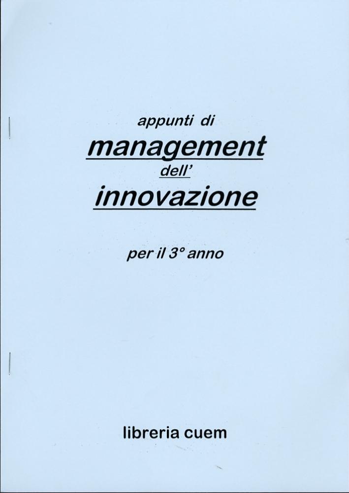 Appunti di management dell'innovazione per il terzo anno. VA 072