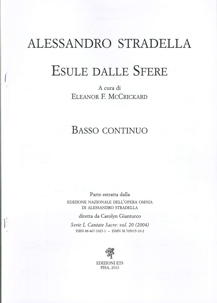 Alessandro Stradella. Esule dalle sfere. Basso continuo