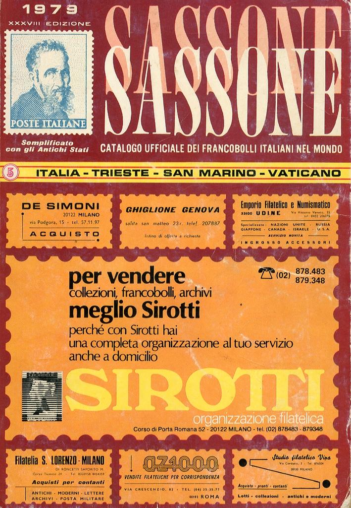 Sassone Completo Catalogo dei Francobolli d'Italia. Trieste. Vaticano. San Marino. XXXVIII Edizione 1979.